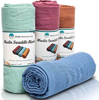 3Eight Enterprises Baby Swaddle Blankets - Organic Muslin...