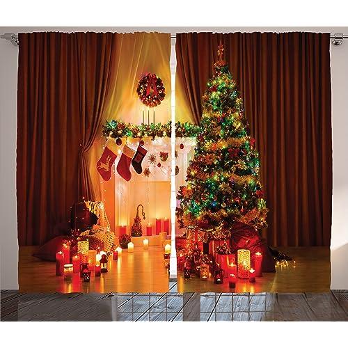 Christmas Decorations Curtains Amazon Com