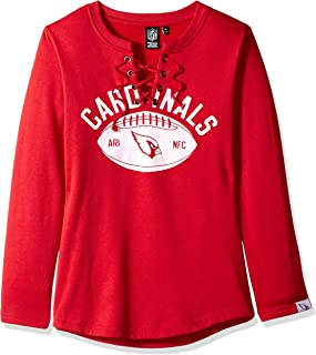 Icer Brands NFL Arizona Cardinals Women's Fleece Sweatshirt Lace Long Sleeve Shirt, Medium, Red