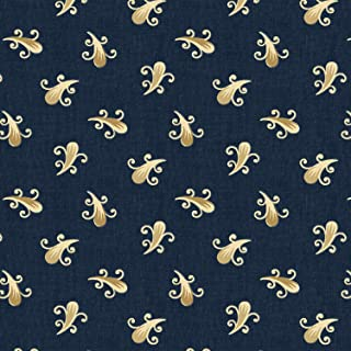 43409-1, Civil War & Late Victorian, Navy Foulard, Clayton by Nancy Gere for Windham Fabrics, Reproduction Fabric by the Yard