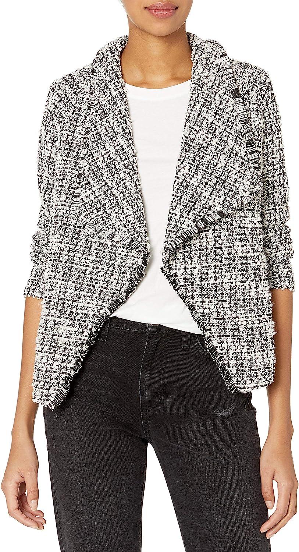 BB Dakota by Steve Madden Women's Knit Tweed Drape Front Jacket