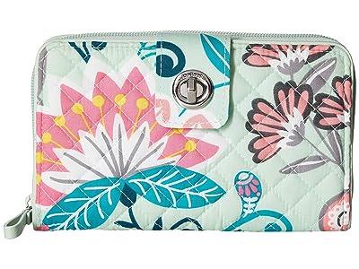 Vera Bradley Iconic RFID Turnlock Wallet (Mint Flowers) Wallet Handbags