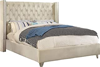 Meridian Furniture Aiden Collection Modern | Contemporary Cream Velvet Upholstered Bed with Deep Button Tufting, Solid Wood Frame, and Custom Chrome Legs, King,
