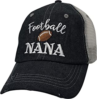 Cocomo Soul Embroidered Football Nana Mesh Trucker Style Hat Cap Football MOM Gift Mothers Day Dark Grey