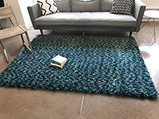Well Woven Nomad Plain Modern Solid Blue Soft Fluffly Shag Area Rug 7'10