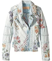 Blank NYC Kids - Denim Floral Embroidered Jacket in Sitting Pretty (Big Kids)