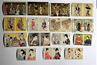 日本切手 切手趣味週間 1975-89 連刷ペア未使用15種30枚