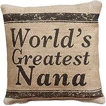 World's Greatest Nana Small Burlap Pillow 8 x 8
