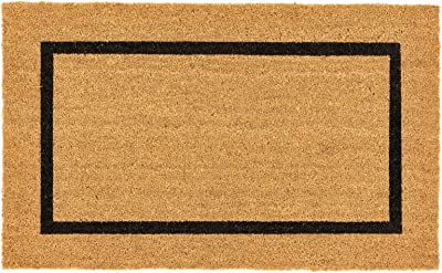 """mDesign Rectangular Coir and Rubber Entryway Doormat with Natural Fibers for Indoor or Outdoor Use - Neutral Design - Stripe Border - Minimalistic - 36"""" x 22"""" - Natural/Black"""