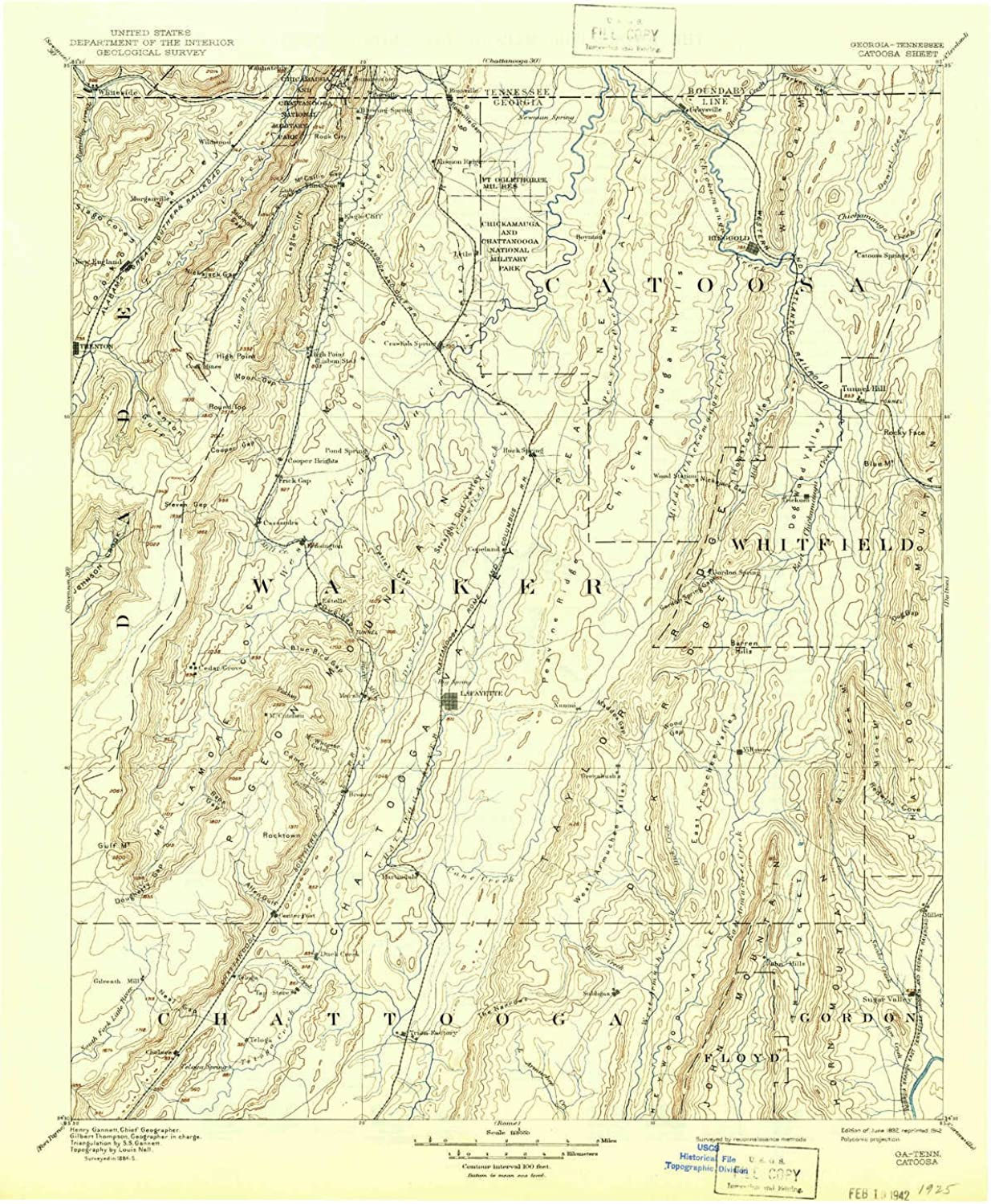 Catoosa GA topo map, 1 125000 Scale, 30 X 30 Minute, Historical, 1892, Updated 1942, 20.7 x 16.8 in