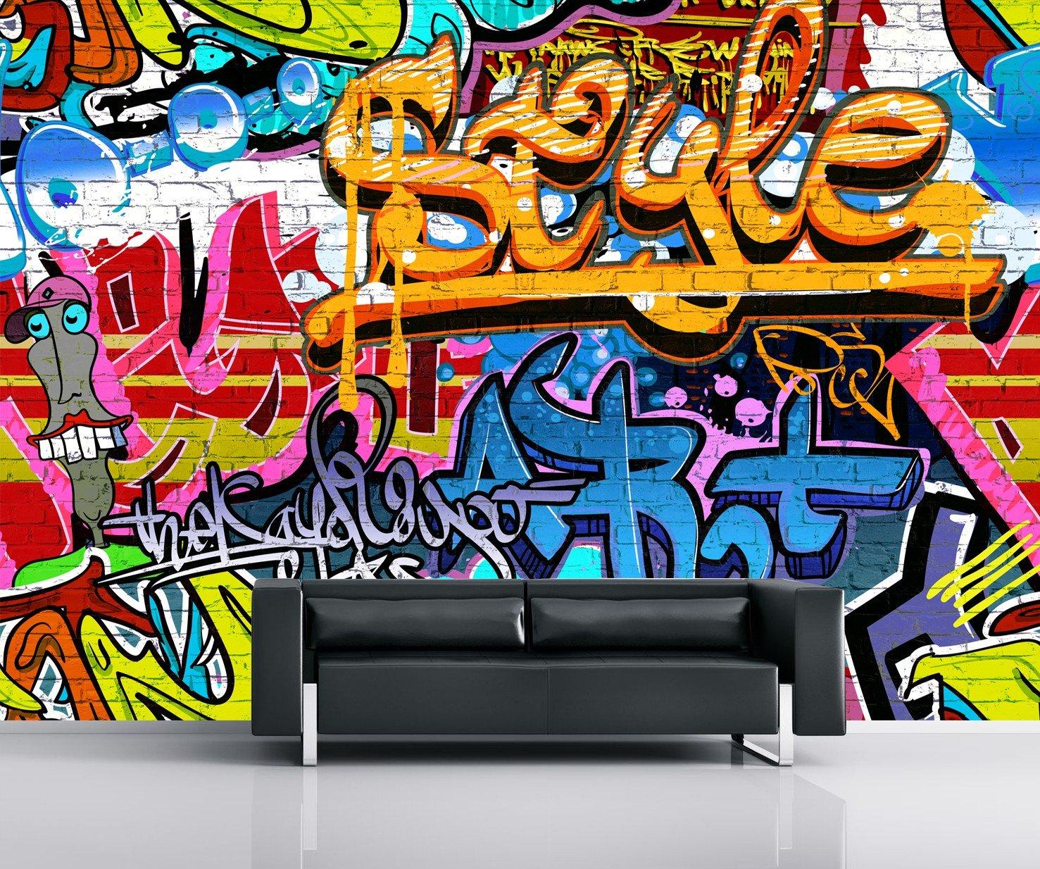 graffiti wall mural amazon co uk1 wall brightly coloured street graffiti feature wallpaper mural 3 15 x 2 32m, wood,