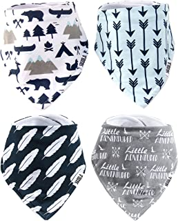 Stadela Baby Adjustable Bandana Drool Bibs for Drooling and Teething Nursery Burp Cloths 4 Pack Baby Shower Gift Set for Boy – Little Adventurer Deer Bear Fox Mountain Camping Animal Woodland Forest