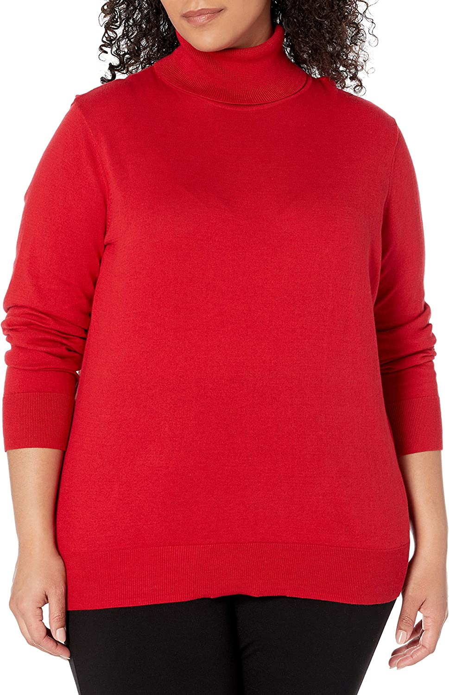 Chaps Spring new work Women's Plus Size Award-winning store Long Sleeve Neck Turtle Cotton-Sweater