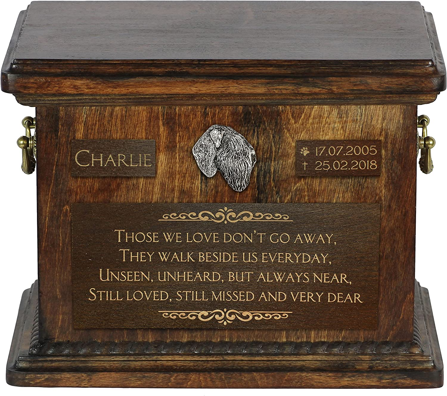 ArtDog Ltd. Black Russian Terrier, urn for dog's ashes with relief and sentence with your dog name and date