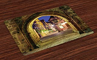 Lunarable Cityscape Place Mats Set of 4, Riquewihr Alsace View France Through City Wall Gate at Night Historical Town Picture, Washable Fabric Placemats for Dining Room Kitchen Table Decor, Brown