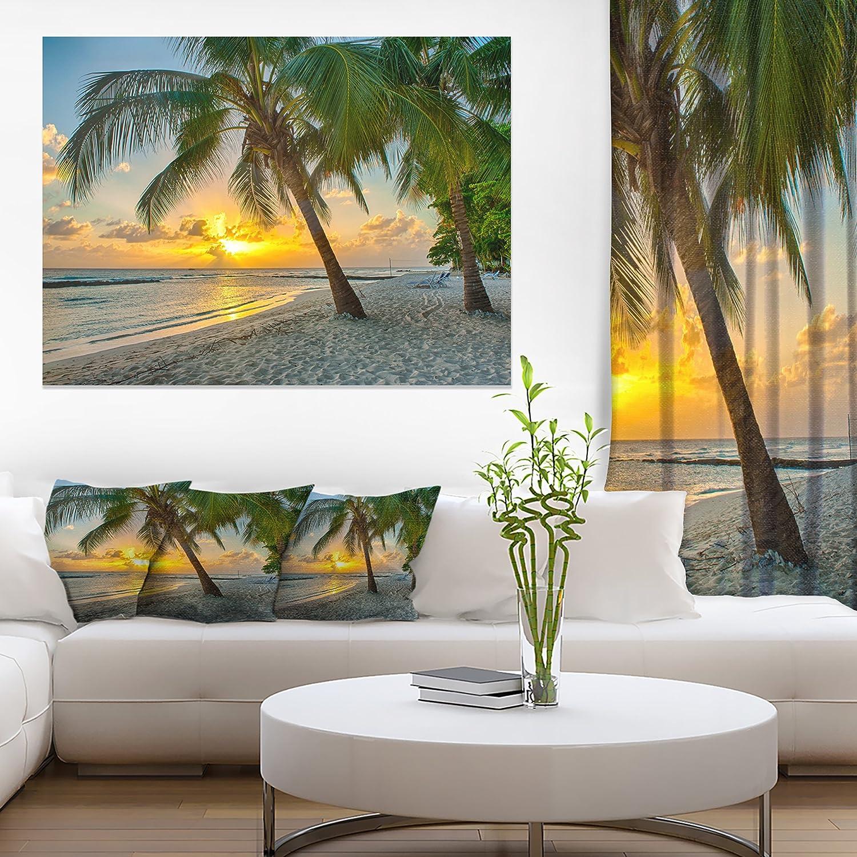 Beach in Caribbean Island of Barbados Modern Seascape Canvas Artwork