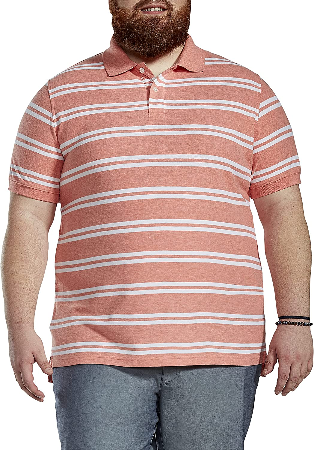 Harbor Bay by DXL Big and Tall Double Stripe Polo Shirt, Orange Multi