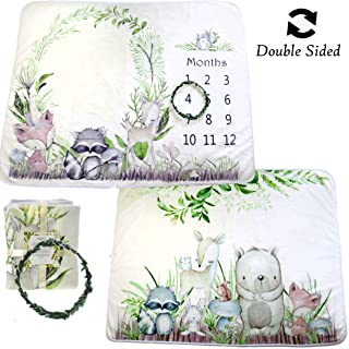 Sejjen Woodland Friends Double Sided Baby Milestone Monthly Blanket, Forest Photo Prop Boy & Girl, Large Soft 310 GSM Fleece Blanket for Animal Nursery and Baby Shower