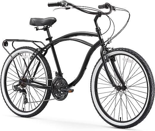 "sixthreezero Around The Block Men's Single-Speed Beach Cruiser Bicycle, 24"" Wheels, Matte Black with Black Seat and Grips"