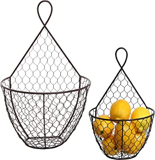 MyGift (Set of 2) Wall Mounted Brown Country Rustic Style Chicken Wire Metal Baskets/Hanging Display Holders