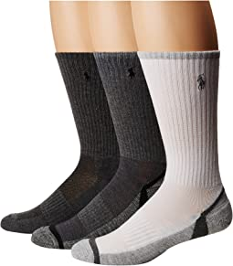 Polo Ralph Lauren - Athletic Feed Stripe Sole Crew 3-Pack Socks