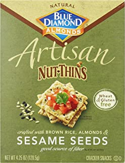 Blue Diamond Almonds Artisan Nut Thins Cracker Crisps, Sesame Seeds, 4.25 Ounce