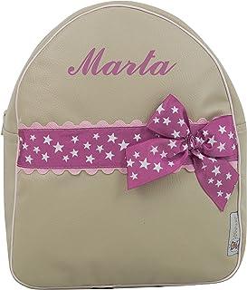 Mochila Infantil Personalizada con Nombre en ecopiel. Modelo Marta. (Arena/Rosa)