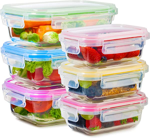 Glass Food Storage Containers With Lids 6 Pack 2 Sizes 35 Oz 12 Oz