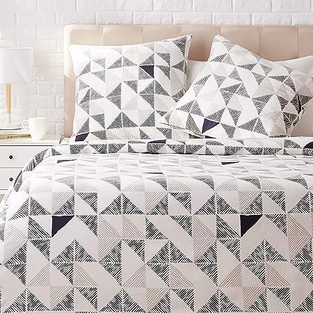 Amazon Basics Parure de lit avec housse de couette en satin, 240 x 220 cm / 65 x 65 cm x 2, Fusion diamant