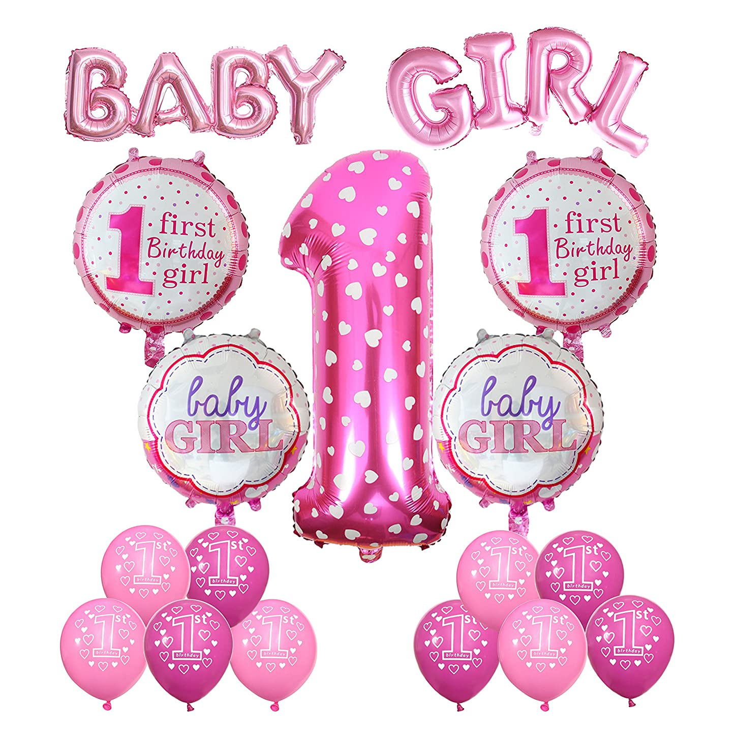 Cocodeko 1st Birthday Decoration, Inflatable Helium Foil Balloons Baby Girls Birthday Party Air Balloons Set Supplies for Baby Shower Photo Props Pink Number First Birthday Decorations - Girl ptzbhuvsatj0