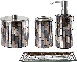 Whole Housewares Bathroom Accessory Sets Black/Gold Tile Mosaic Glass Bathroom Accessories - Lotion Dispenser/Soap Pump, C...