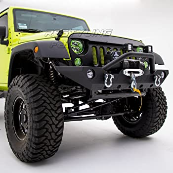 Restyling Factory -Black Textured Front Bumper With Fog Lights Hole & 2x D-Ring & Winch Plate for 07-18 Jeep Wrangler JK