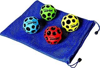"Waboba MOON Extreme Bounce Bundle of 4 Balls _ in 4 Neon Colors _ BONUS Soft Nylon Net Drawstring 9 x 12"" Royal Blue Carry Bag"