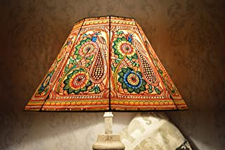Peacock pattern Floor Lamp shade Large   Handmade Leather Multi Colour Garden Lamp Shade in Octagonal Shape - HT-9.5 and WID-16 inches