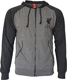 Icon Sport Liverpool Hoodie Soccer Lightweight Fz Summer Light Zip up Jacket Grey Adults