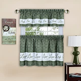Achim Home Furnishings Achim Home Imports Live, Love, Laugh Window Curtain Tier Pair and Valance Set, Pair & Valance 58