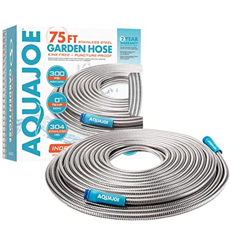 Aqua Joe AJSGH75 1/2-Inch Heavy-Duty, Puncture Proof Kink-Free, Spiral Constructed 304-Stainless Steel Metal, Garden Hose, 75-Foot, Silver