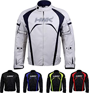 Motorcycle Jacket Men`s Riding HWK Textile Racing Motorbike Hi-Vis Biker CE Armored Waterproof Jackets (Silver, M)