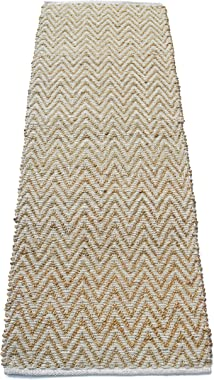 Chardin home Chevron Jute and Soft Cotton Chenille Rug, Natural Jute/Ivory, 22''X72''
