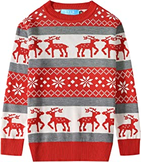 Big Boys' Reindeer Snowflake Pullover Crewneck Ugly Christmas Sweater