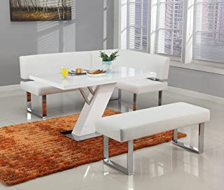 Milan Lillian Gloss White Modern Design Dining Table With Nook and Bench