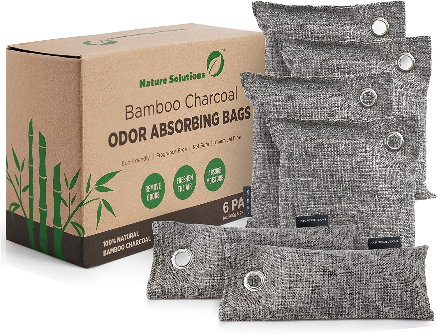 Bamboo Charcoal Air Purifying Bags Genuine Natural O Rapid rise 6 Pack