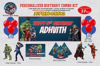 WoW Party Studio Personalized Avengers Theme Birthday Party Supplies with Birthday Boy/Girl Name - Combo Kit (37 Pcs)