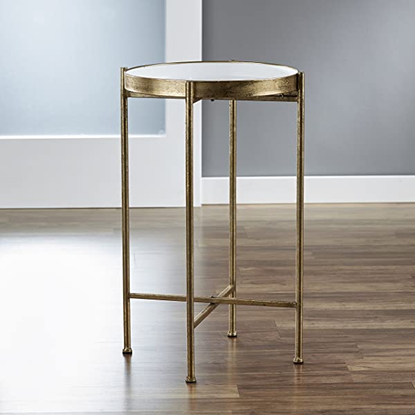 FirsTime Co BTSKDW S White Small Gild Pop Up Tray Accent Table