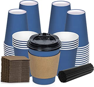 Savourio 12 Oz Disposable 100 Pack Stirring Straws, Lids, Hot Coffee Container – Blue Short Tea Go – Leakproof Paper Sleeves Cups, Sapphire
