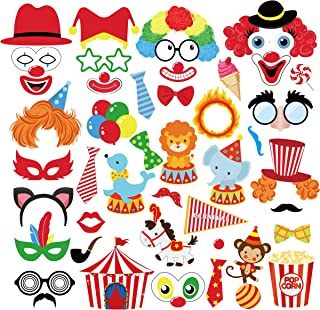 CC HOME Carnival Circus Party Decorations , 44 Ct Circus Carnival Photo Booth Props,Red & White Striped Circus Classic Decorations ,Selfie Props for Baby Shower ,Birthday Party, Bachelorette Party, Circus Carnival Decorations Supplies