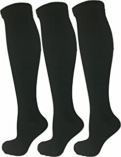 3 Pair Black Small/Medium Ladies Compression Socks, Moderate/Medium Compression 15-20 mmHg. Therapeutic, Occupational, Travel & Flight Knee-High Socks. Women`s Shoe Sizes 5-10, Men`s Sizes 5-9