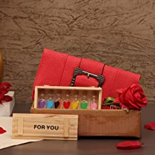 TIED RIBBONS Valentine Gifts for Girlfriend Wife Girls - Message Pills Gifts in Decorative Bottle Pack (Love Messages Bottle Box, Clucth Bag and Artificial Rose)
