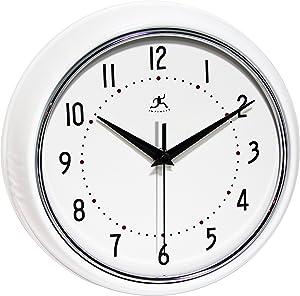 Infinity Instruments Retro Round Metal Wall Clock, White