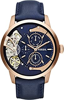 Fossil Men's Stainless Steel Mechanical-Hand-Wind Watch with Leather Calfskin Strap, Blue, 22 (Model: ME1138
